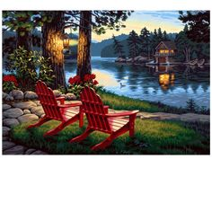 Dimensions Adirondack Lake Evening Paint by Numbers for Adults 20 W x 14 L