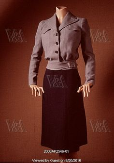 Utility suit, by Victor Stiebel. England, 1942. EDITORIAL USE ONLY