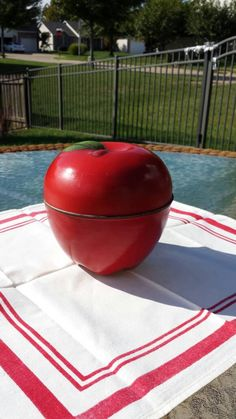 A personal favorite from my Etsy shop https://www.etsy.com/listing/481509631/red-apple-shaped-tin-canister-1950s