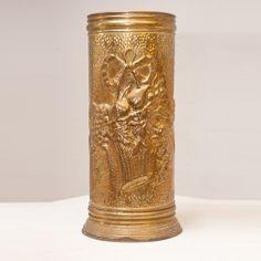 19th c. Antique Brass Umbrella Holder, Belgium