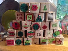 Advent calendar from hand made boxes and 25 Days stamp set from Stampin' Up!