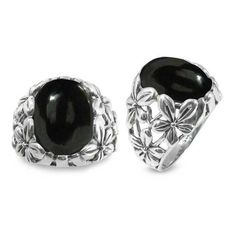 Sterling Silver Ring with Oval Black Onyx Stone (BTS-NRB6067/ONY) (835 MXN) ❤ liked on Polyvore featuring jewelry, rings, sterling silver jewelry, oval black onyx ring, sterling silver rings, sterling silver black onyx ring and black onyx rings