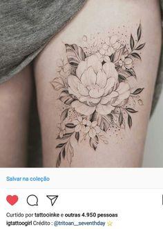 Flowers tattoo leg thigh tat 18 Ideas for 2019 Girly Tattoos, Hippe Tattoos, Floral Thigh Tattoos, Trendy Tattoos, Flower Tattoos, Body Art Tattoos, Tattoos For Guys, Tatoos, Piercing Tattoo