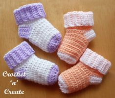 Baby Crochet Baby Socks Free Baby Crochet Pattern - Crochet 'n' Create - Easy baby socks crochet pattern, worked from the cuff downwards. Keep babies feet warm and cosy, they take very little yarn to make and can be crocheted in a short amount of time. Crochet Baby Socks, Crochet Socks Pattern, Booties Crochet, Crochet Baby Clothes, Crochet Slippers, Crochet For Kids, Baby Knitting, Free Crochet, Crochet Patterns