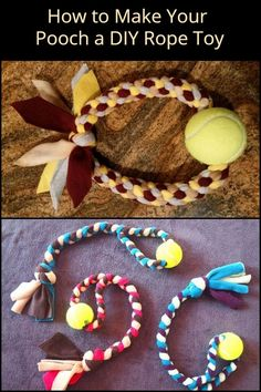 Made of old shirts and a tennis ball, your pet will love this DIY rope toy! Made of old shirts and a tennis ball, your pet will love this DIY rope toy! Homemade Dog Toys, Diy Dog Toys, Best Dog Toys, Diy Rope Toys For Dogs, Cute Dog Toys, Dog Crafts, Animal Crafts, Dog Enrichment, Diy Dog Bed