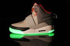 Air Yeezy Glow In The Dark Black Grey Orange Shoes