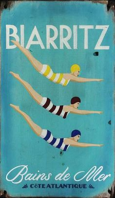 Enjoy this beach art featuring a trio of bathing beauties diving against a deep turquoise background, with their striped bathing suits and a vintage French seaside feel.