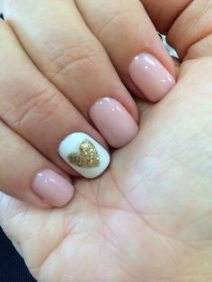 Venus Nails & Spa - Pink daisy gel nail polish with gold glittered heart decorated nail.  So pretty! - Huntington Beach, CA, United States