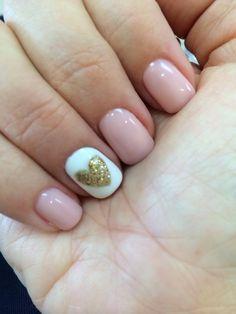 Venus Nails & Spa - Pink daisy gel nail polish with gold glittered heart decorated nail. So pretty! - Huntington Beach, CA, United States