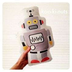 Retro robot pillow cushion - bedroom decor - boys - kookinuts grey, red & yellow RETROBOT - stuffed toy