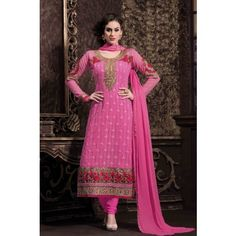 HOME  devider  Beautiful Pink Faux Georgette Party Wear Salwar Kameex with Resham Work and Lace Work - Online Shopping for Salwar Suit by United Silks - RS. 2,999