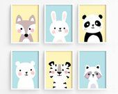 Printable Nursery Art Set of 6 - Fox Bunny Panda Bear Tiger Raccoon ( Baby room decor kids Poster Cute Animal kawaii woodland - Baby Zimmer Baby Room Art, Kids Room Art, Baby Room Decor, Art For Kids, Kids Rooms, Nursery Prints, Nursery Wall Art, Bunny Nursery, Nursery Decor