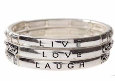 "NWT INSPIRATIONAL MESSAGE SILVER ""LIVE LOVE LAUGH"" BRACELET TRIO #RainJewelryCollection #HookBangleCharm"
