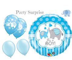 Baby Boy Elephant Balloons Boy Baby Shower by PartySurprise