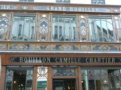 Le Bouillon Racine, anciennement nommé le Grand Bouillon Camille Chartier, restaurant situé 3 rue Racine à Paris (France) ==> https://fr.wikipedia.org/wiki/Bouillon_Racine