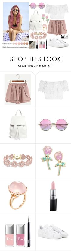 """377->Anchorage"" by dimibra ❤ liked on Polyvore featuring Miguelina, Mansur Gavriel, BaubleBar, Big Bud Press, Goshwara, MAC Cosmetics, Christian Dior, adidas and Deborah Lippmann"