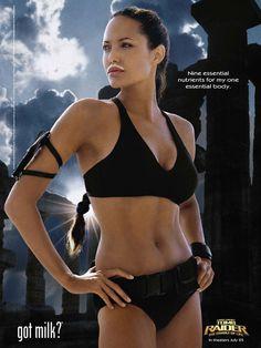 """""""Got Milk?"""" ad as Lara Croft, Tomb Raider"""