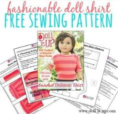 Doll Shirt Free Sewing Pattern with many variations. Love the lace back idea. Sewing Doll Clothes, Sewing Dolls, Doll Clothes Patterns, Doll Patterns, Clothing Patterns, American Girl Diy, American Dolls, Sewing Patterns Free, Free Sewing