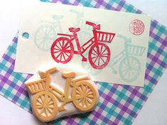 bicycle rubber stamp. designed and carved by talktothesun, $20.00