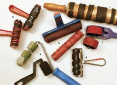 Textured brayers can be bought or made. The authors' collection includes:  1. a rolling pin wrapped with rubber strips, which rolls out the bamboo-like pattern shown at bottom left in the four-photo group below;  2. a Rollagraph rolling rubber-stamp, plus a substitute wheel in a different pattern;  3. a hard-rubber brayer wrapped diagonally with a rubber strip;  4. two foam paint rollers, one of which has been cut to make striped patterns; 5. a rubber-band-wrapped b....