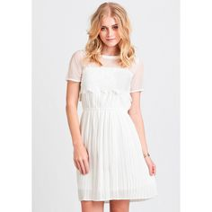 Ruche On A Cloud Dress (94 CAD) ❤ liked on Polyvore featuring dresses, white, sheer sleeve dress, white sheer dress, sleeve dress, transparent dress and lace overlay dress