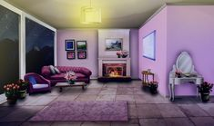 Int Rose Living Room Night In 2019 Episode Interactive Cenário anime Ambiente Casa anime
