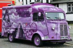 Old truck/bus - painted in a purple design