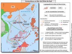 Carte. Contentieux Mer de Chine Sud.  Voici une carte de synthèse inédite. Carte et légende conçues par C. Bezamat-Mantes et D. Schaeffer. Réalisée par C. Bezamat-Mantes pour Diploweb.
