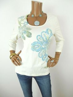 4b6312bbcf3f1e CHICO S Sz 2 Womens Top L Summer Shirt Ivory Stretch Sequin Floral  Blue Green  Chicos  Blouse  Casual