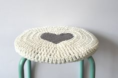 Solid white with GREY heart in the by ROEST, Modern Crochet, Crochet Home, Love Crochet, Crochet For Kids, Crochet Mitts, Knit Crochet, Stool Cover Crochet, Cotton Cord, Stool Covers