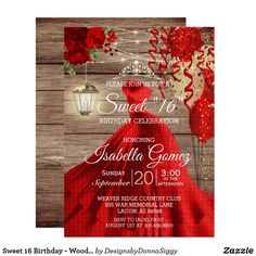 Sweet 16 Birthday - Wood and Red Flowers Invitation