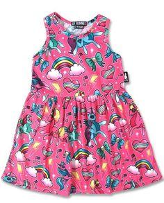Six Bunnies Kids Dress Unicorn Pink Tattoo,Oldschool,Biker,Pin Up,Custom Styles