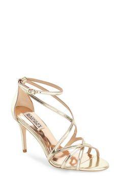 Badgley Mischka 'Lillian' Metallic Evening Sandal (Women)