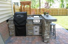 Outdoor Grill Kitchen, Grill Cabinet, Grill Table and other Outdoor Patio Furniture - acquire our best ideas for outside kitchens, including lovely outdoor kitchen decor, backyard decor - Small Outdoor Kitchens, Outdoor Kitchen Plans, Outdoor Kitchen Countertops, Outdoor Kitchen Design, Kitchen Decor, Bar Kitchen, Simple Outdoor Kitchen, Kitchen Tools, Kitchen Island