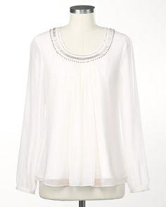 Beaded poet blouse - [K15861]