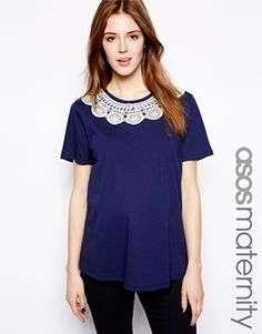 Image 1 ofASOS Maternity Top with Lace Collar