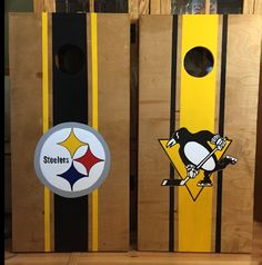 Pittsburgh Steelers  and Penguins  Custom made Corn hole Boards - These Cornhole boards are handcrafted, stained and then hand painted and custom made for each of our customers. Free set of cornhole bags are also provided for $189.99. They make great gifts for anyone for any occasion! We love custom orders and will make your team, theme or wedding.