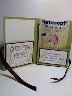 Packaging for wellness voucher . Boyfriend Gifts, Stampin Up, Diy And Crafts, Presents, Packaging, Scrapbook, Creative, Cards, Handmade