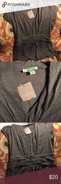 ANTHROPOLOGIE NWT ett twa woven top Flattering empire waist, comfortable grey jersey. New with tags! Anthropologie Tops Blouses