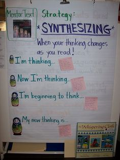 "Synthesizing anchor chart. I like the idea of using ""nesting dolls"" to help explain synthesizing"