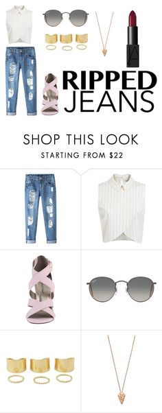 """Sem título #96"" by lidyapeixoto on Polyvore featuring moda, Chicnova Fashion, Miss Selfridge, Michael Antonio, Ray-Ban, Pamela Love e NARS Cosmetics"