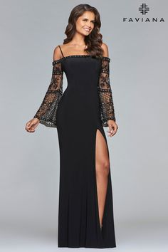 Be the best dressed guest at your next special event in the stylish Beaded Bell Sleeve Jersey Column Evening Dress by Faviana. Mob Dresses, Homecoming Dresses, Fashion Dresses, Formal Dresses, Prom Dress, Sheath Dresses, Chiffon Dresses, Sleeve Dresses, Dress Lace