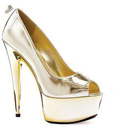"""Ellie Shoes E-609-Shine, 6"""" Heel Open Toe Pump With 2"""" Platform. 10 Gold - Ellie shoes pumps for women (*Amazon Partner-Link)"""