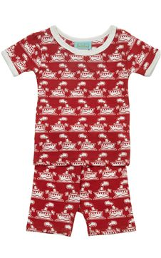 BedHead Baby : BedHead PJs : Infant PJS : Red Steamboat Stretch S/S 2pc Boo Boo Shorty PJ | Living Water Home Spa Shop #pjs #onesies #bedheadpjs #baby #infant #luxury