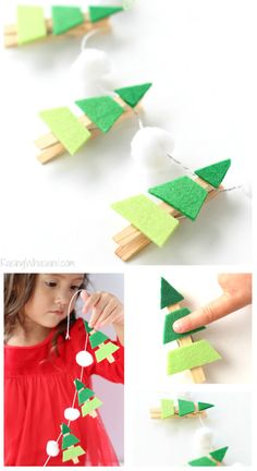 Новогодние гирлянды. Гирлянда из фетра своими руками Christmas Activities, Christmas Crafts For Kids, Homemade Christmas, Christmas Projects, Holiday Crafts, Holiday Fun, Christmas Holidays, Christmas Decorations, Christmas Ornaments
