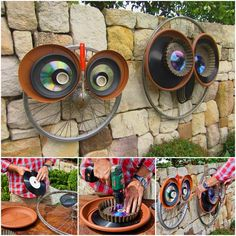 Recycled Wheel Owls
