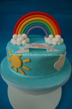 This was my birthday cake! I had wanted to do a rainbow for a while so took the opportunity when I made my own cake. Rainbow Parties, Rainbow Birthday Party, Rainbow Theme, Big Cakes, Cute Cakes, My Birthday Cake, Birthday Ideas, Birthday Bash, Dinosaur Cake