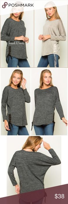 🆕🌸 Side Lace Up Dolman Sweater Dolman sleeve side lace up sweater. Two tone Knit made of  96%Polyester 4%Spandex. Perfect for pair with leggings, or denim. Size S, M, L available in black & Oatmeal. Threads & Trends Sweaters