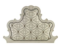 John-Richard upholstered headboard with carved wood scrolled banding in glazed white finish.