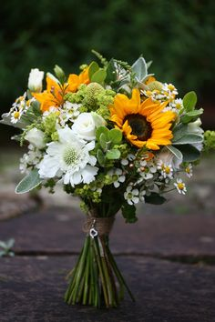 Jen s wedding bouquet brimming with Sunflower Scabious Craspedia Tanecetum Daisy and Lisianthus Sunflower Wedding Decorations, Wedding Centerpieces, Sunflower Wedding Arrangements, Sunflower Centerpieces, Daisy Wedding, Fall Wedding, Rustic Wedding, Wedding Ceremony, Reception